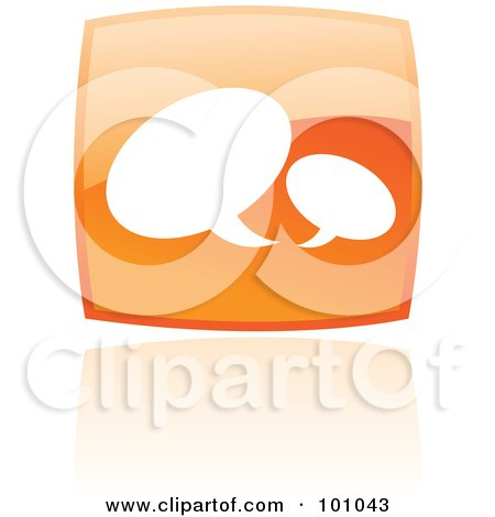 Royalty-Free (RF) Clipart Illustration of a Shiny Orange Square Email Web Browser Icon by cidepix