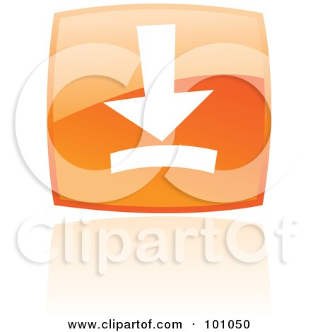 Royalty-Free (RF) Clipart Illustration of a Shiny Orange Square Download Web Browser Icon by cidepix