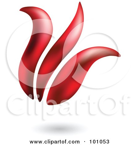 Royalty-Free (RF) Clipart Illustration of a 3d Red Tulip Icon - 2 by cidepix