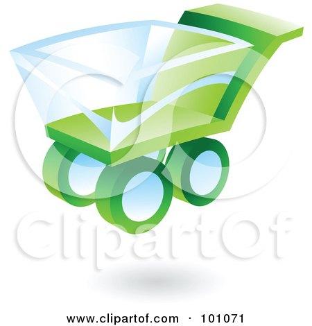 3d Green Shopping Cart Web Icon Posters, Art Prints