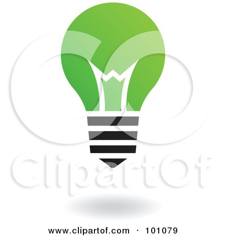 Royalty-Free (RF) Clipart Illustration of a Green And Black Lightbulb Logo Icon by cidepix