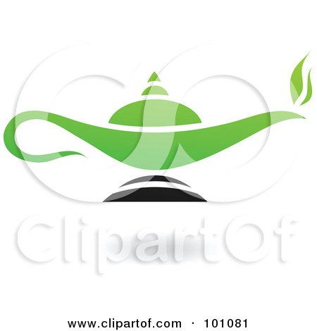 Royalty-Free (RF) Clipart Illustration of a Green And Black Magic Lamp Logo Icon by cidepix