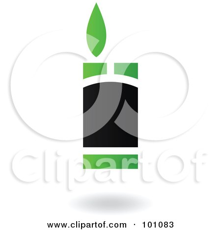 Royalty-Free (RF) Clipart Illustration of a Green And Black Lighter Logo Icon by cidepix