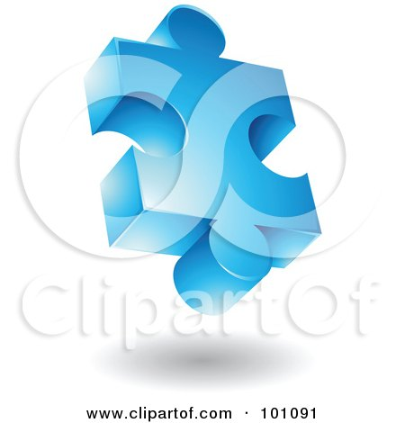 Royalty-Free (RF) Clipart Illustration of a Blue 3d Puzzle Piece Logo Icon by cidepix