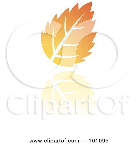 Royalty-Free (RF) Clipart Illustration of an Orange Autumn Leaf Logo Icon  - 3 by cidepix