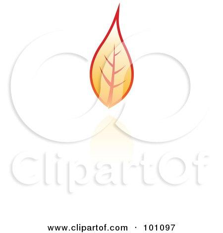 Royalty-Free (RF) Clipart Illustration of an Orange Autumn Leaf Logo Icon  - 4 by cidepix