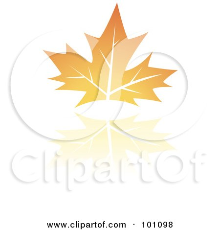 Royalty-Free (RF) Clipart Illustration of an Orange Autumn Leaf Logo Icon  - 2 by cidepix