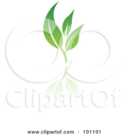 Royalty-Free (RF) Clipart Illustration of a Green Leaf Logo Icon - 6 by cidepix