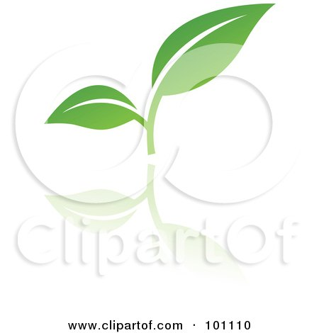 Royalty-Free (RF) Clipart Illustration of a Green Leaf Logo Icon - 3 by cidepix