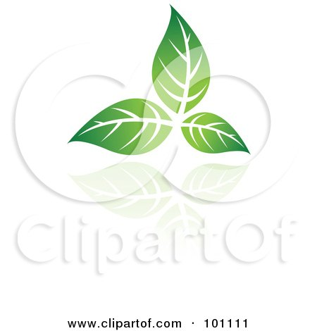 Royalty-Free (RF) Clipart Illustration of a Green Leaf Logo Icon - 1 by cidepix
