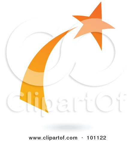 Royalty-Free (RF) Clipart Illustration of an Orange Shooting Star Logo Icon by cidepix