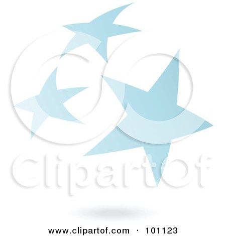 Royalty-Free (RF) Clipart Illustration of a Blue Star Cluster Logo Icon by cidepix