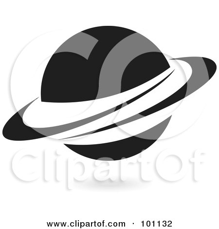 Royalty-Free (RF) Clipart Illustration of a Black Ringed Planet Logo Icon by cidepix