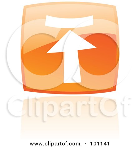 Royalty-Free (RF) Clipart Illustration of a Shiny Orange Square Upload Web Browser Icon by cidepix