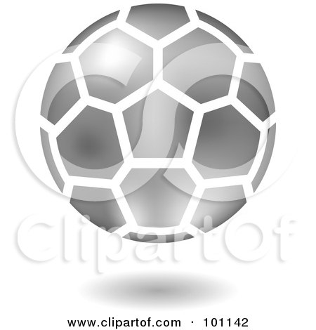 Royalty-Free (RF) Clipart Illustration of a Shiny Silver Soccer Logo Icon by cidepix