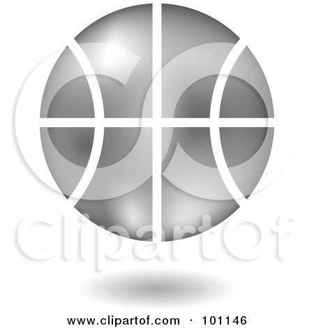 Royalty-Free (RF) Clipart Illustration of a Shiny Silver Basketball Logo Icon by cidepix