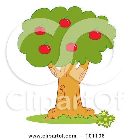 Royalty-Free (RF) Clipart Illustration of Red Apples On An Orchard Tree by Hit Toon