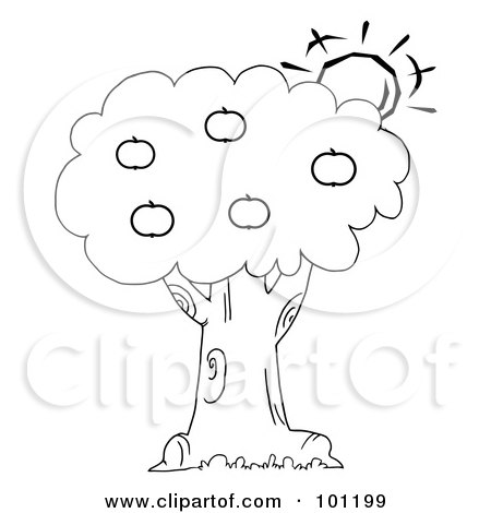 Royalty-Free (RF) Clipart Illustration of a Coloring Page Outline Of The Sun Behind An Apple Tree by Hit Toon