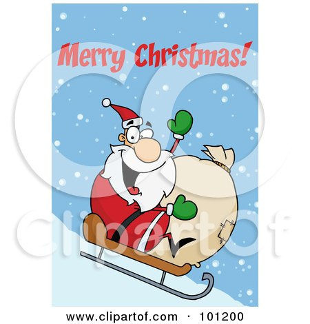 Royalty-Free (RF) Clipart Illustration of a Merry Christmas Greeting With Santa Sledding by Hit Toon