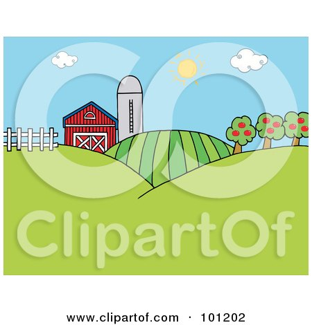 The Sun Above A Silo, Barn, Orchard, Hills And Crops On A Farm Posters, Art Prints