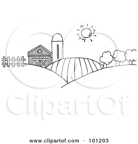 Royalty-Free (RF) Clipart Illustration of a Coloring Page Outline Of Rolling Hills, A Farm And Silo On Farm Land by Hit Toon