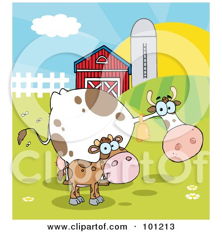 Calf And Cow In A Pasture Near A Barn And Silo At Sunrise Posters, Art Prints