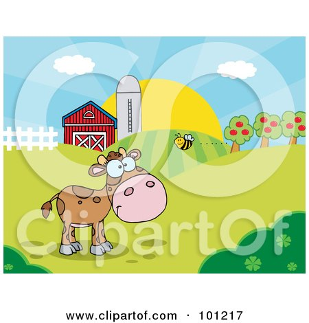 Royalty-Free (RF) Clipart Illustration of a Bee Flying Towards A Lone Calf In A Pasture by Hit Toon