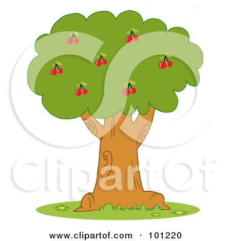 Royalty-Free (RF) Clipart Illustration of a Lush Cherry Tree by Hit Toon