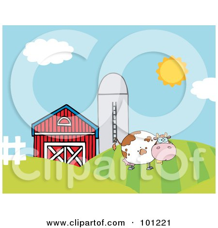 Royalty-Free (RF) Clipart Illustration of a Lone Cow On A Hill Near A Silo And Barn by Hit Toon