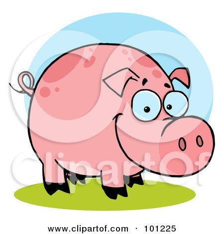 Royalty-Free (RF) Clipart Illustration of a Happy Farm Pig With Spots by Hit Toon