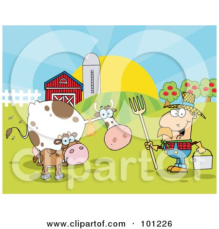 Royalty-Free (RF) Clipart Illustration of a Male Farmer Tending To His Cattle On His Farm by Hit Toon