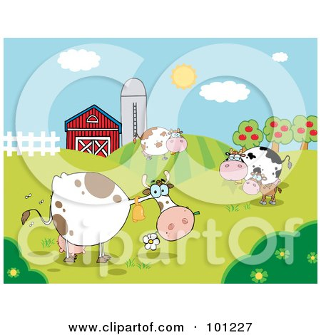 Royalty-Free (RF) Clipart Illustration of a Pasture Of Grazing Dairy Cows Near A Barn And Silo by Hit Toon