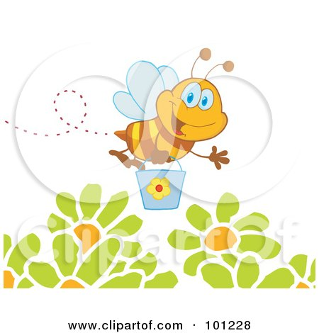 Royalty-Free (RF) Clipart Illustration of a Happy Honey Bee Flying With A Bucket Over Flowers by Hit Toon