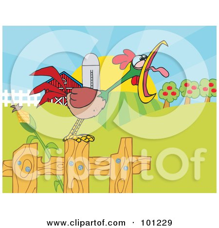 Royalty-Free (RF) Clipart Illustration of a Noisy Rooster Crowing On A Fence At The Edge Of A Pasture by Hit Toon