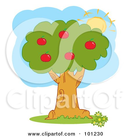 Royalty-Free (RF) Clipart Illustration of The Sun Merging Behind An Apple Tree by Hit Toon