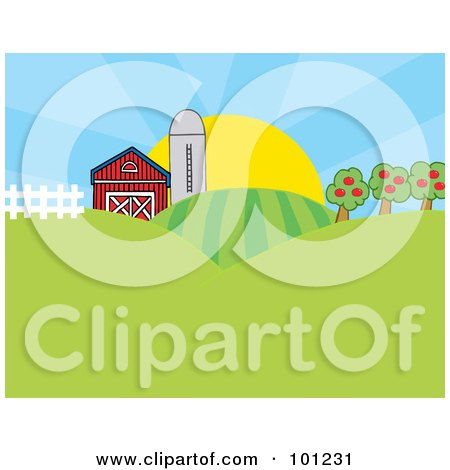 Royalty-Free (RF) Clipart Illustration of The Sun Rising Behind A Silo, Barn, Orchard, Hills And Crops On A Farm by Hit Toon