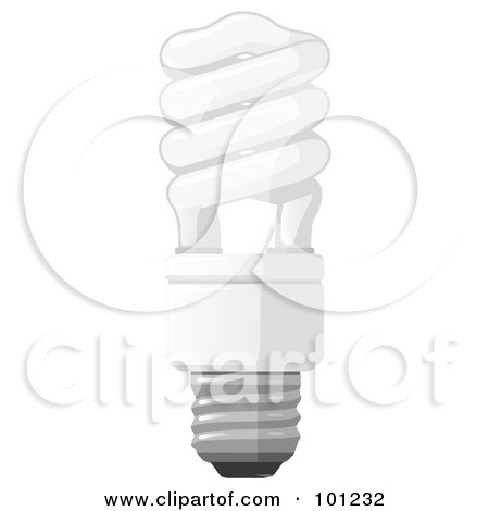 Royalty-Free (RF) Clipart Illustration of a White Energy Saver Light Bulb by Leo Blanchette