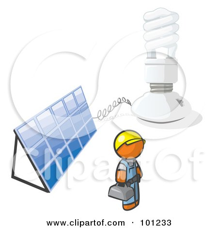 Royalty-Free (RF) Clipart Illustration of an Installer Orange Man By An Energy Saver Light Bulb And Solar Panel by Leo Blanchette