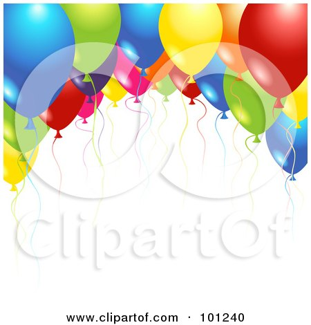 Royalty-Free (RF) Clipart Illustration of a Background Of Shiny Party Balloons And Colorful Ribbons Over White by Oligo