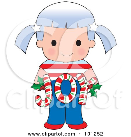 Royalty-Free (RF) Clipart Illustration of a Cute American Girl Holding Joy Christmas Candy Canes by Maria Bell