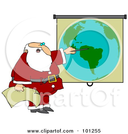 Royalty-Free (RF) Clipart Illustration of Santa Pointing To A World Map While Discussing Christmas Deliveries by djart
