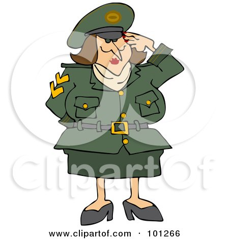 Royalty-Free (RF) Clipart Illustration of an Army Woman Saluting With One Hand by djart