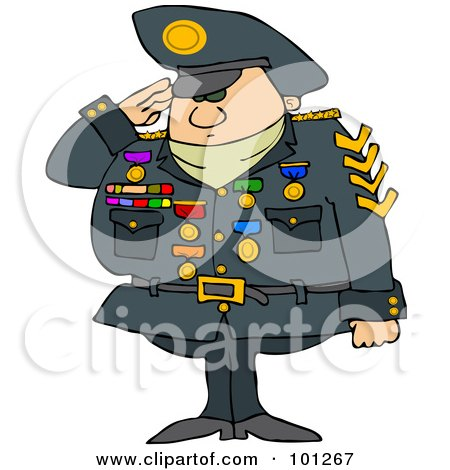 Royalty-Free (RF) Clipart Illustration of a Military Man Saluting And Wearing His Badges by djart