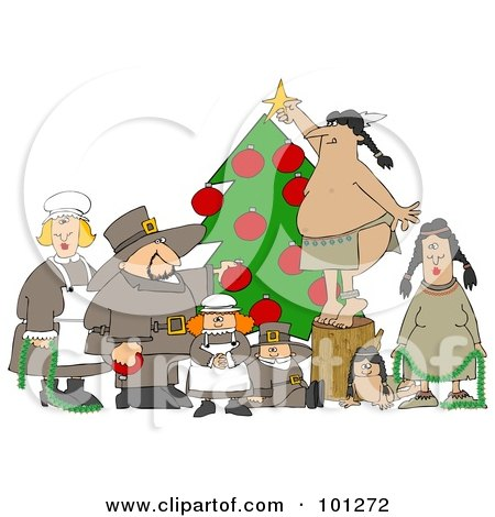 Royalty-Free (RF) Clipart Illustration of Pilgrims And Native Americans Trimming A Christmas Tree Together by djart