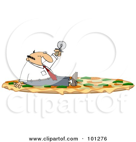 Royalty-Free (RF) Clipart Illustration of a Businessman Sitting On A Combo Pizza And Holding Up A Cutter by djart