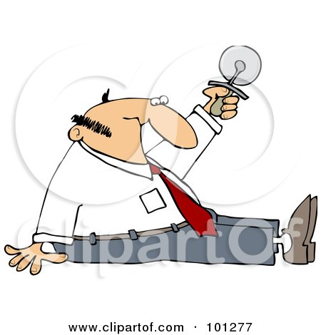 Royalty-Free (RF) Clipart Illustration of a Businessman Sitting On The Floor And Holding Up A Pizza Cutter by djart