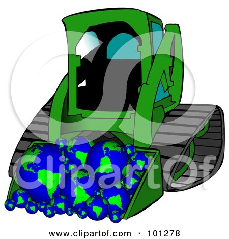 Royalty-Free (RF) Clipart Illustration of a Green Bobcat Tractor With A Load Of Globes by djart