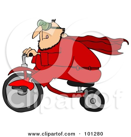 Royalty-Free (RF) Clipart Illustration of a Man In A Red Super Hero Suit, Riding A Trike by djart