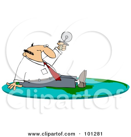 Royalty-Free (RF) Clipart Illustration of a Businessman Sitting On On A Flat Globe And Holding Up A Pizza Cutter by djart