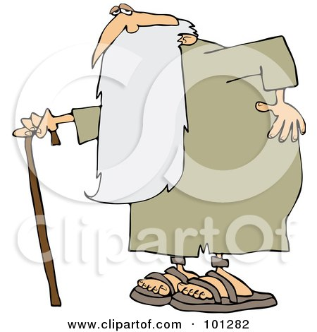 Royalty-Free (RF) Clipart Illustration of an Old Man, Father Time, Holding His Back And Walking With A Cane by djart